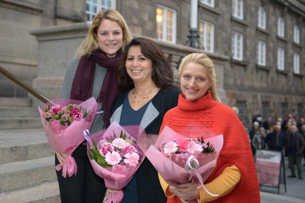 Johanne Schmidt-Nielsen (EL), Özlem Cekic (SF) og Zenia Stampe (R). Foto Mikael Arendt Laursen
